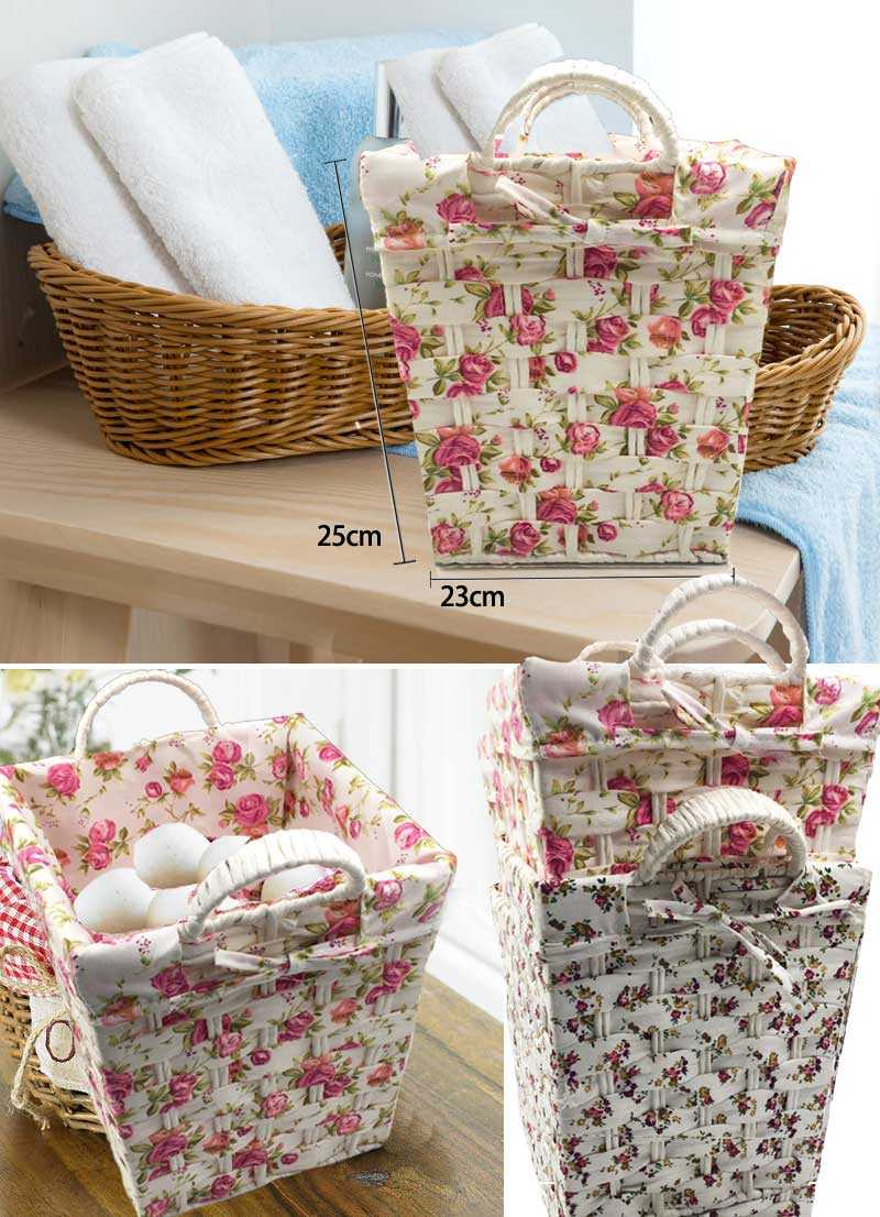 Multifunction Binaural Willow Weaving Storage Basket Fruit Rattan Storage Box For Cosmetics picnic basket organizer