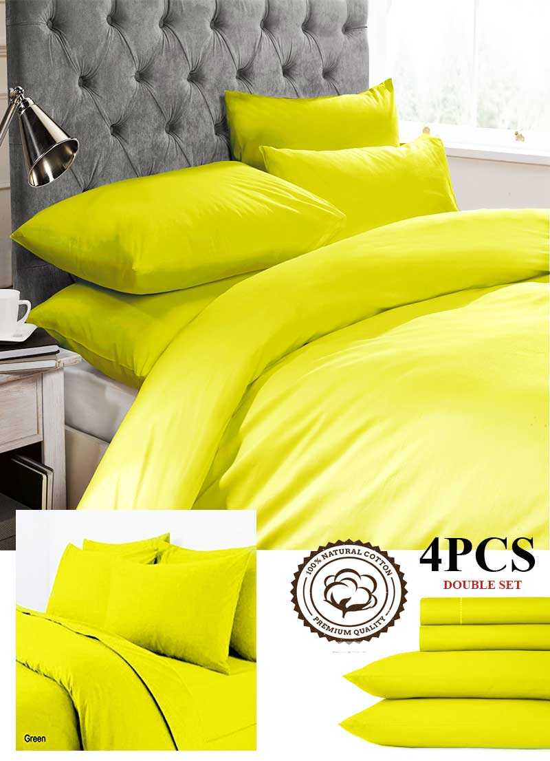 Neon+Yellow+Double+Bedding+Set+cotton+4Pcs