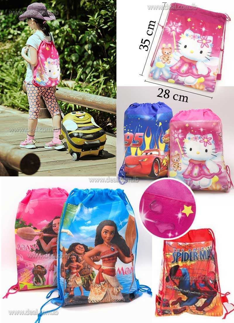 Non woven Fabric Drawstring Bags Kids Shopping School Traveling Bags