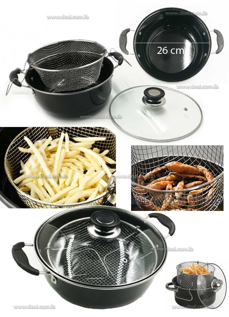 Nonstick Deep Fryer with Frying Basket and Glass Cover
