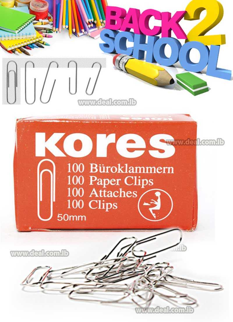 PAPER CLIPS 50 MM ROUND KORES