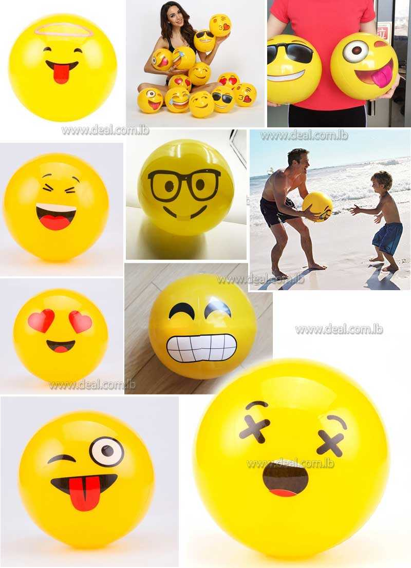 PVC Emoji Beach Balls Inflatable Soft Ball Kids&Adult Water Play Pool Party Toys