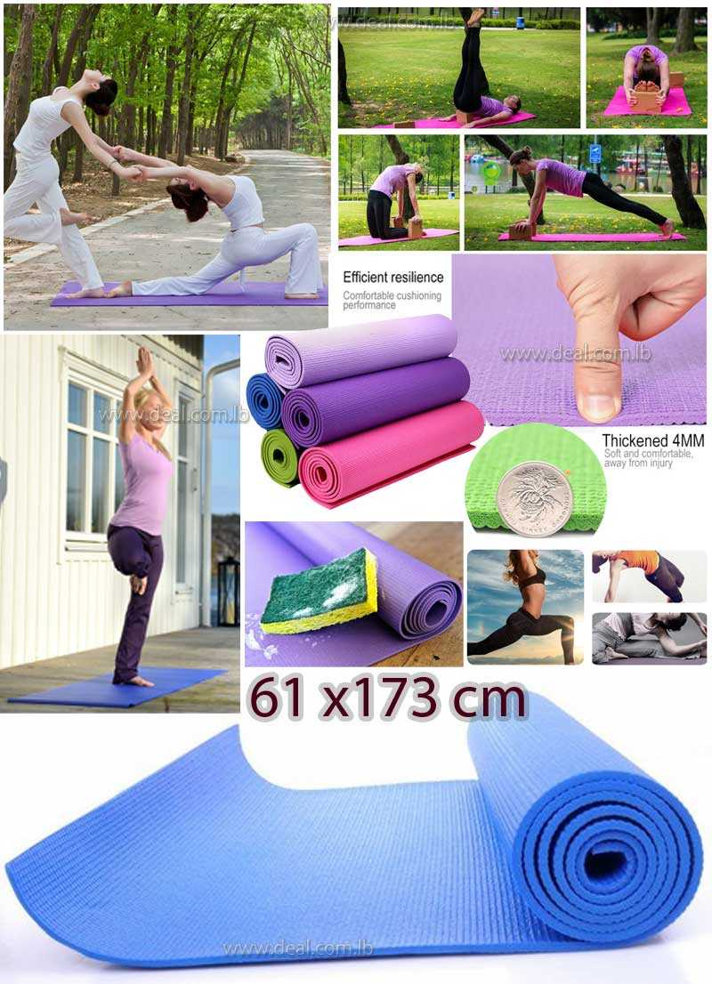 PVC Yoga Mat Durable Non slip Thick Fitness Exercise Pad Health Lose Weight