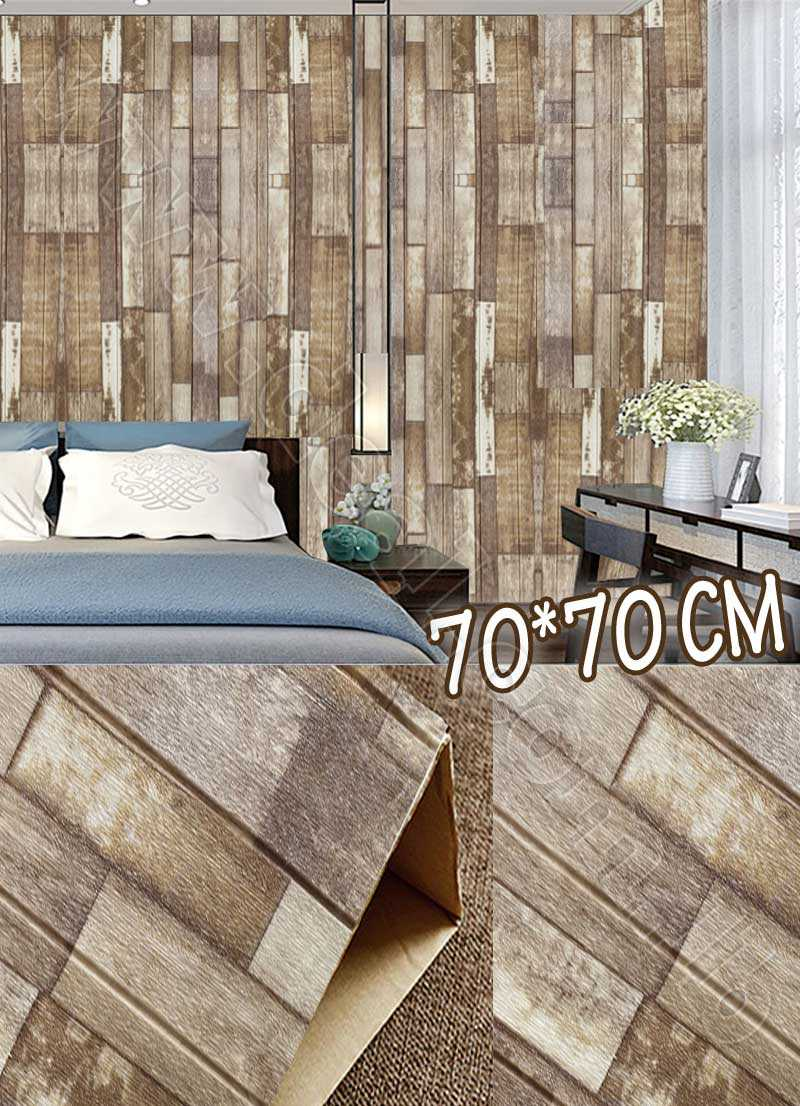 Pa3D Wood Panel Sticker Self adhesive Livingroom PE Foam Wallpaper Mural 70*70cm