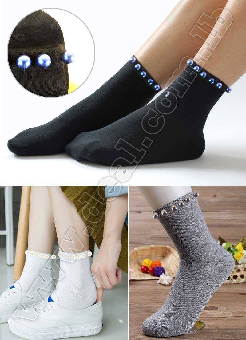Pearl Decorate Women Spring Winter Socks Autumn Summer Wear Popsocket Cotton Material Casual Style Female Short Socks