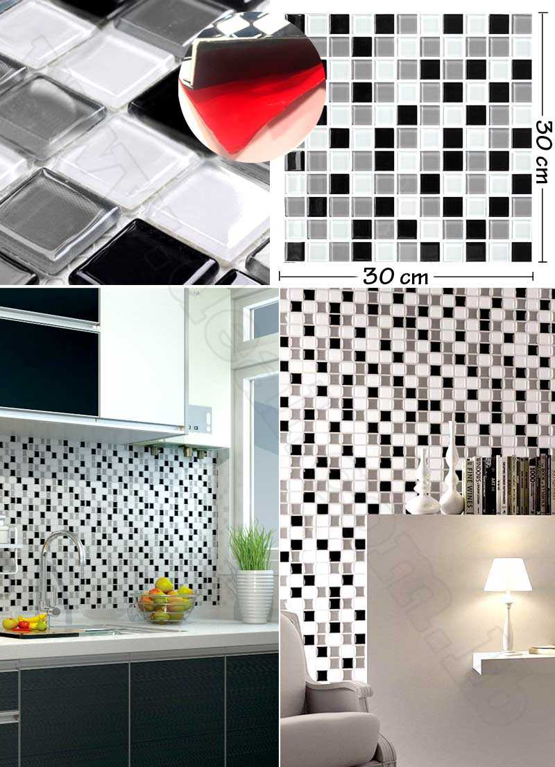 Peel and Stick Tile Sticker 3D Self Adhesive Wall Sticker Mosaic Black Silver White