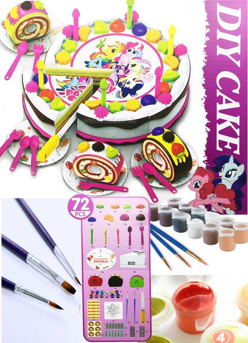 Pink Horses cars DIY cake painting Set