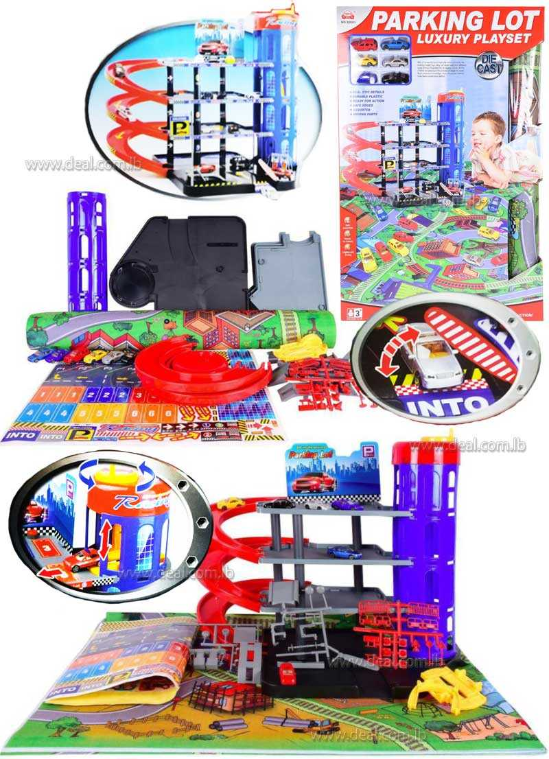 Planet of Toys Luxury Parking Playset with Vehicles and Mat
