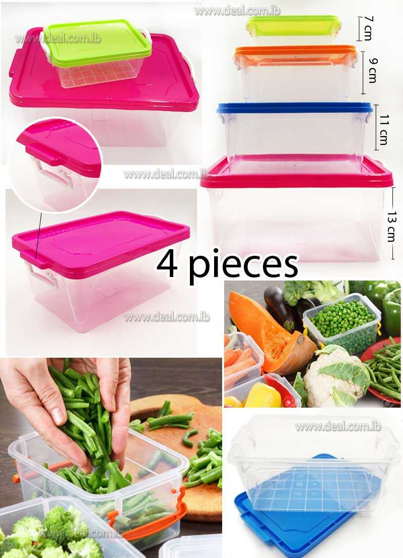 Plastic Lock Clip  Food Container Set Of 4 Pieces Multicolors
