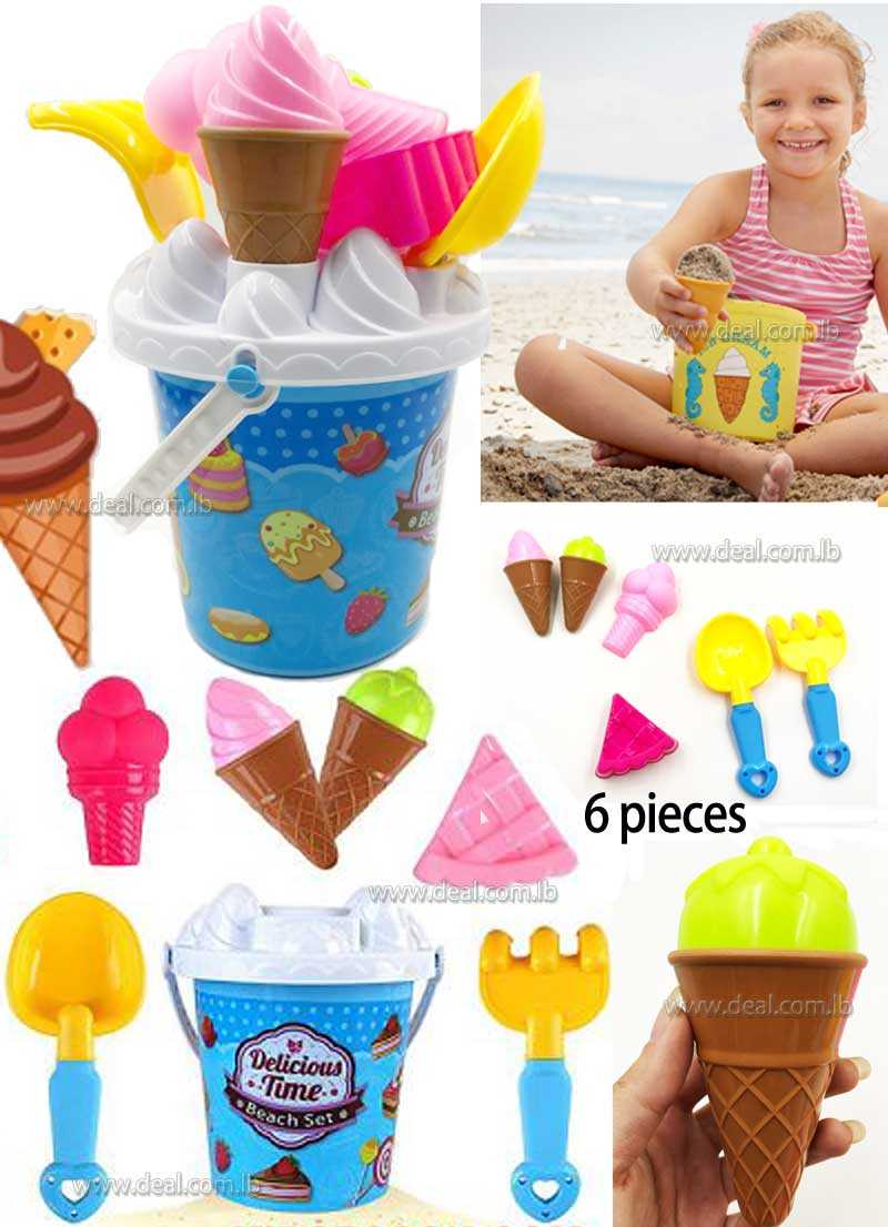 Play Set  6PCS  Ice Cream Sand Molds Beach Bucket Toys