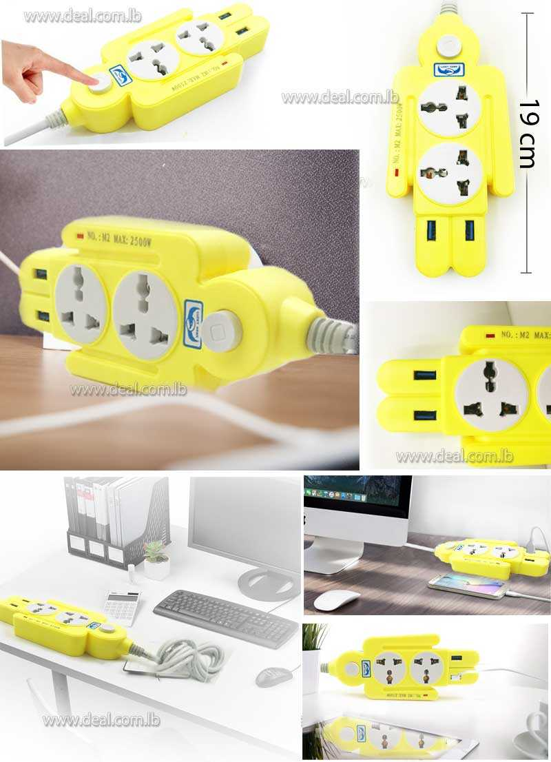 Plug Socket With 2 USB Women Shape