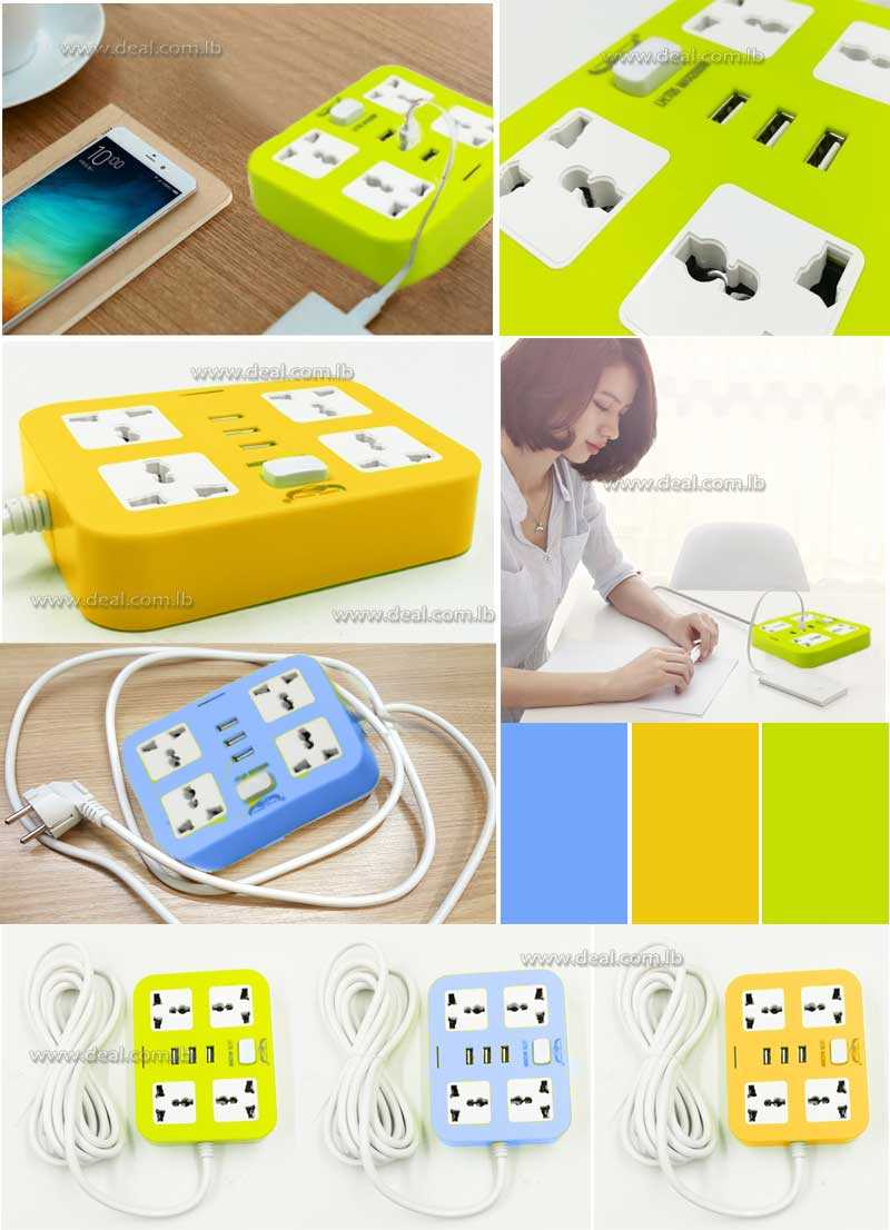 Power Colored 4 Plug Extension Socket with 3 usb guard electric power