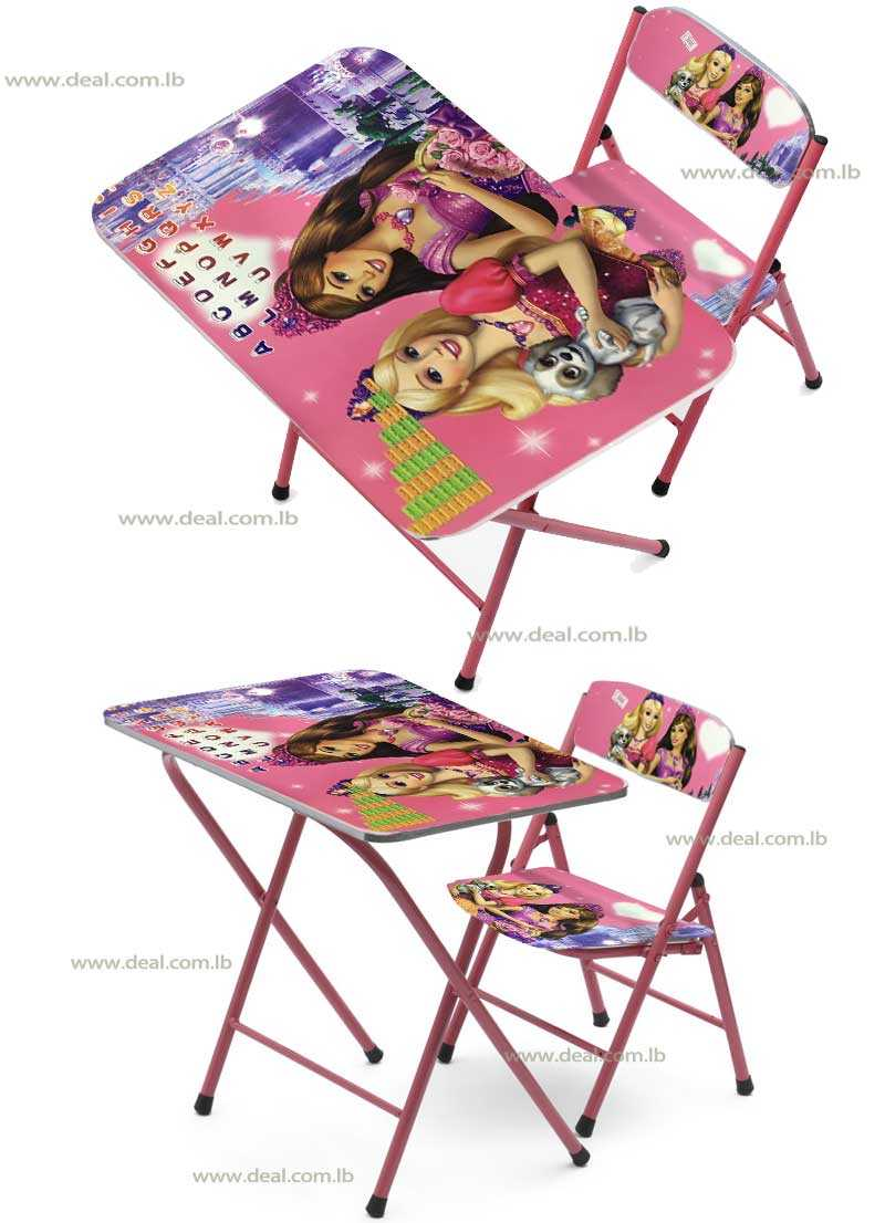 Princess Kids Foldable Study Table And Chair