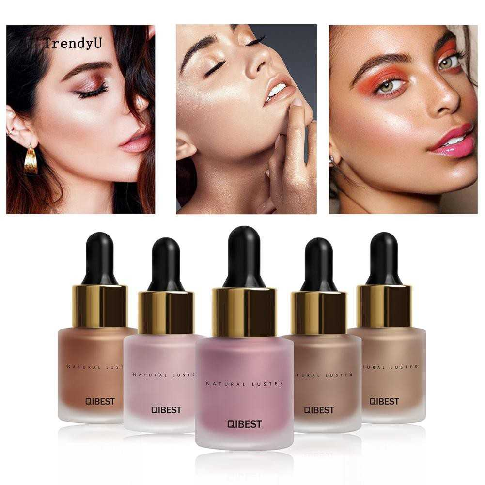 QIBEST 5 Colors Liquid Highlighter Brighten Skin Tone Make up Shimmer Face Glow Iluminador Bronzing
