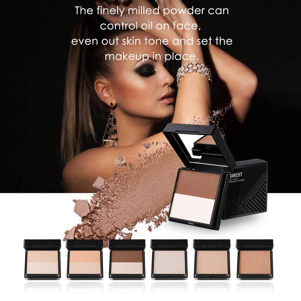 QIBEST Foundation Makeup Face Powder Panel Contour Color Cosmetics Loose Powder for Women Party Professional Daily Makeup
