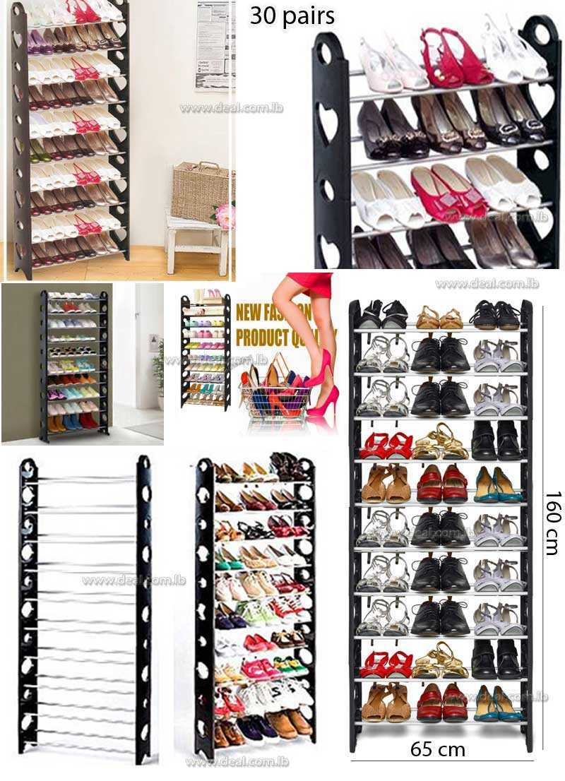 Rack Organizer Tower Stackable Shoes Storage 10 Layers