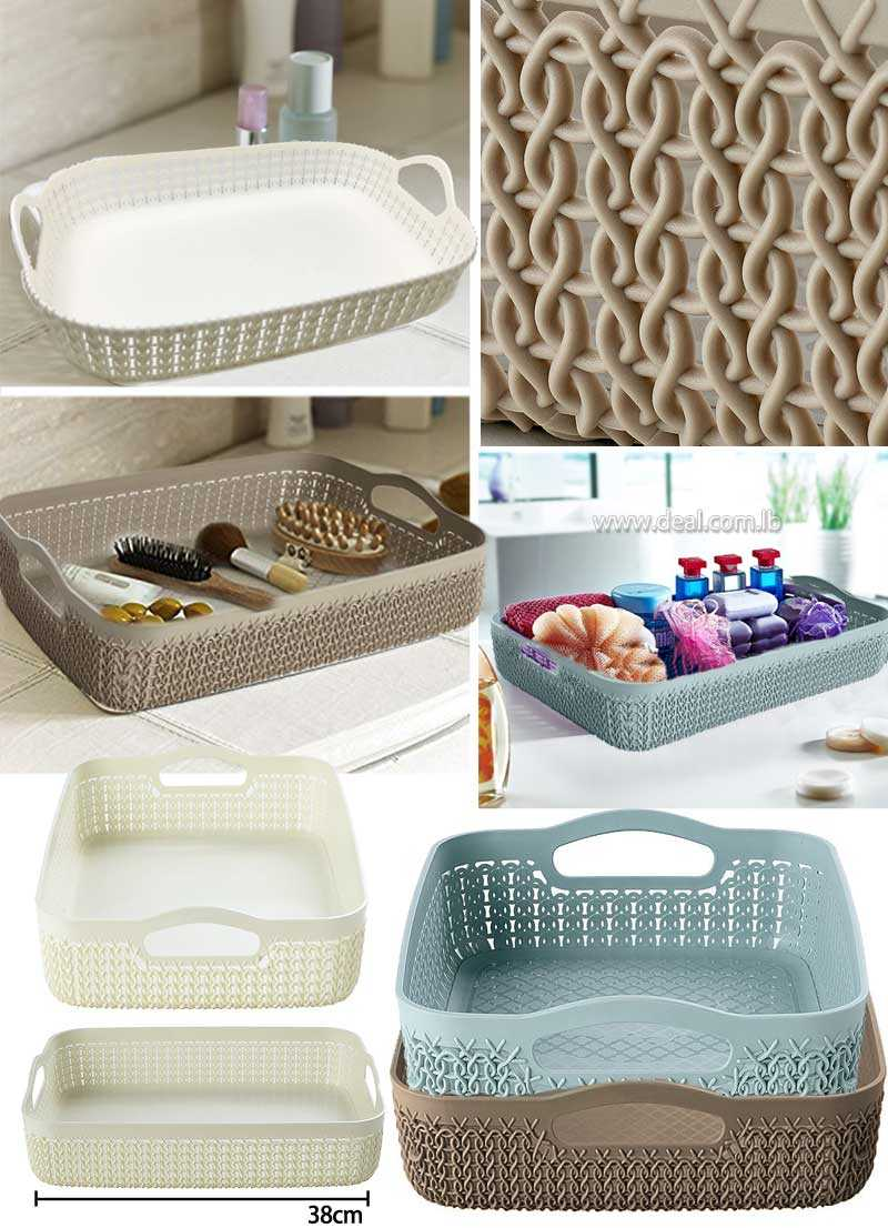 Rattan Curver Knit Effect Storage Tray Large