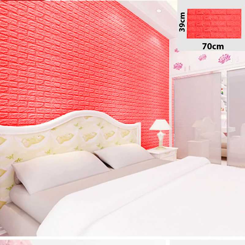Red color 3D Brick Wall Sticker Self 70x39cm PE Foam Wallpaper Antibacterial DIY wood Brick Wall Decals For Living Room Kids Bedroom Self Adhesive Home Deco