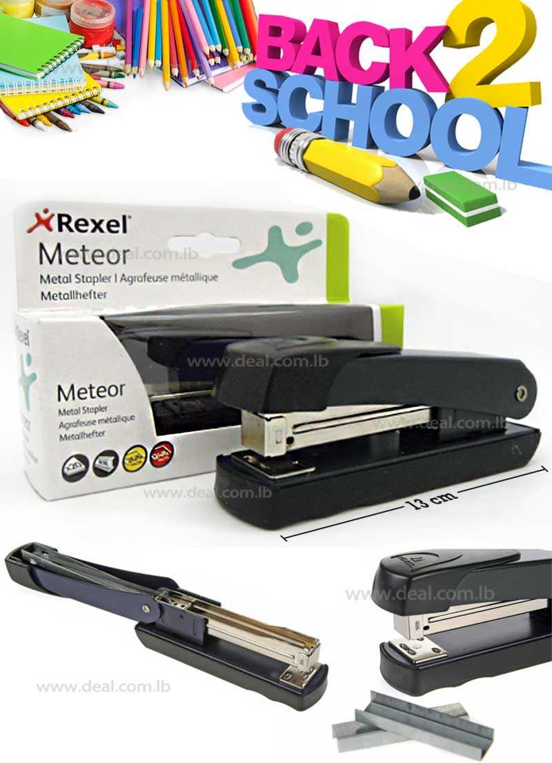 Rexel Meteor Stapler Half Strip Throat 64mm Black