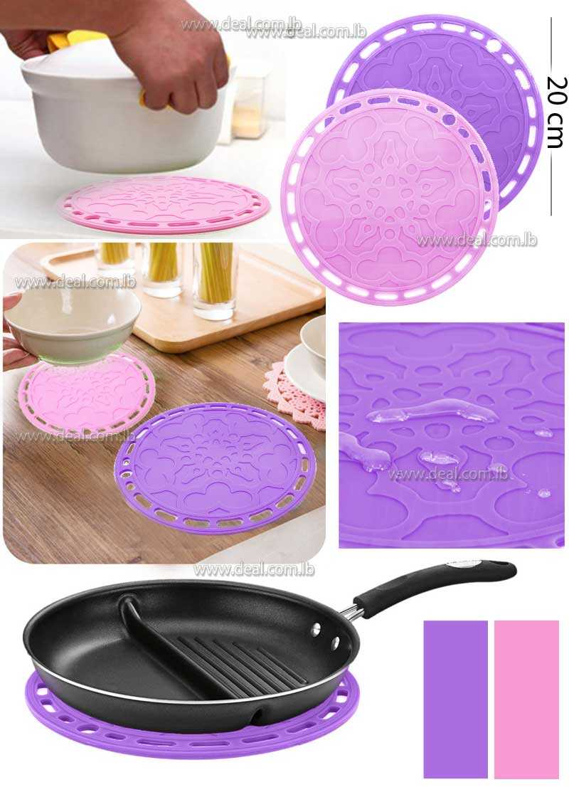 Round shaped clear silicone decorative cup mat