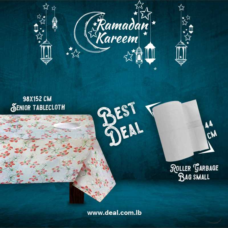 Senior tablecloth 98x152 cm & White Roller Garbage Bag Small Size 44CM
