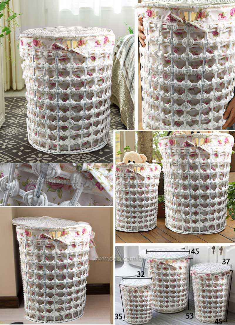 Set 3 Peices White Round Rattan Storage Hamper Basket