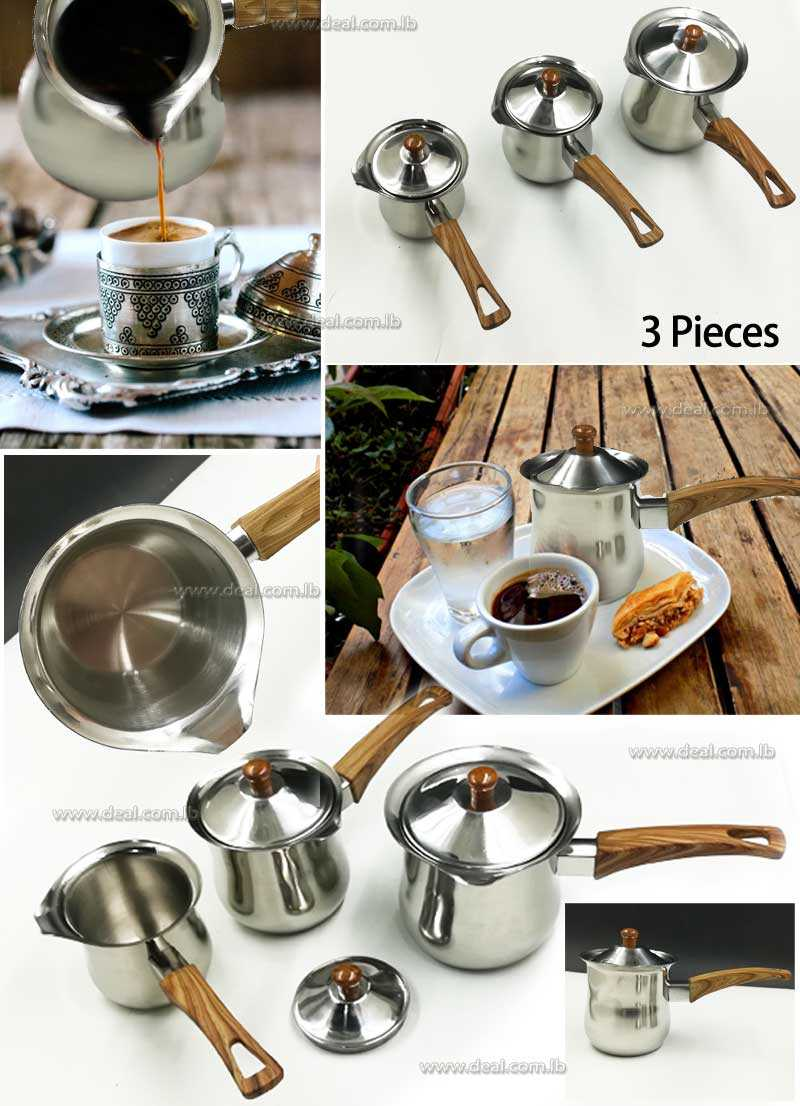 Set+OF+3+Pcs+Stainless+Steel+Coffee+Warmer