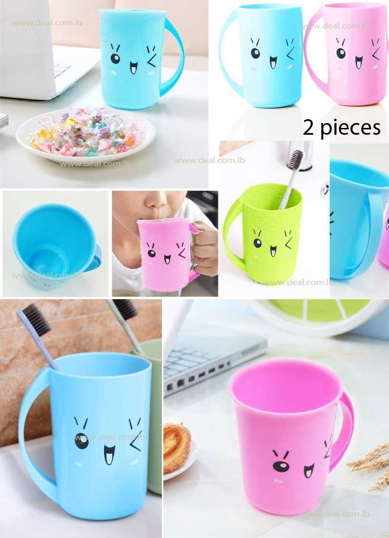 Set Of 2 Pcs Family Toothbrush Cups holder rinsing Cup Drink Cup
