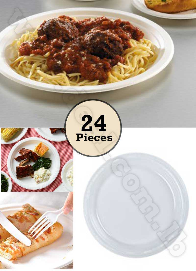 Set Of 24pcs Disposable Plastic Plate 9 Inch