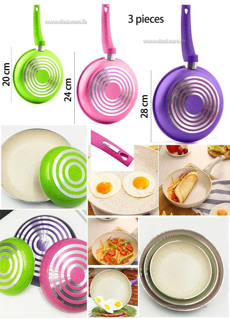 Set Of 3 pieces Aluminum Alloy New Style Plates Pans & Grill Egg Bread Fry Pans  Eco friendly Health Kitchen