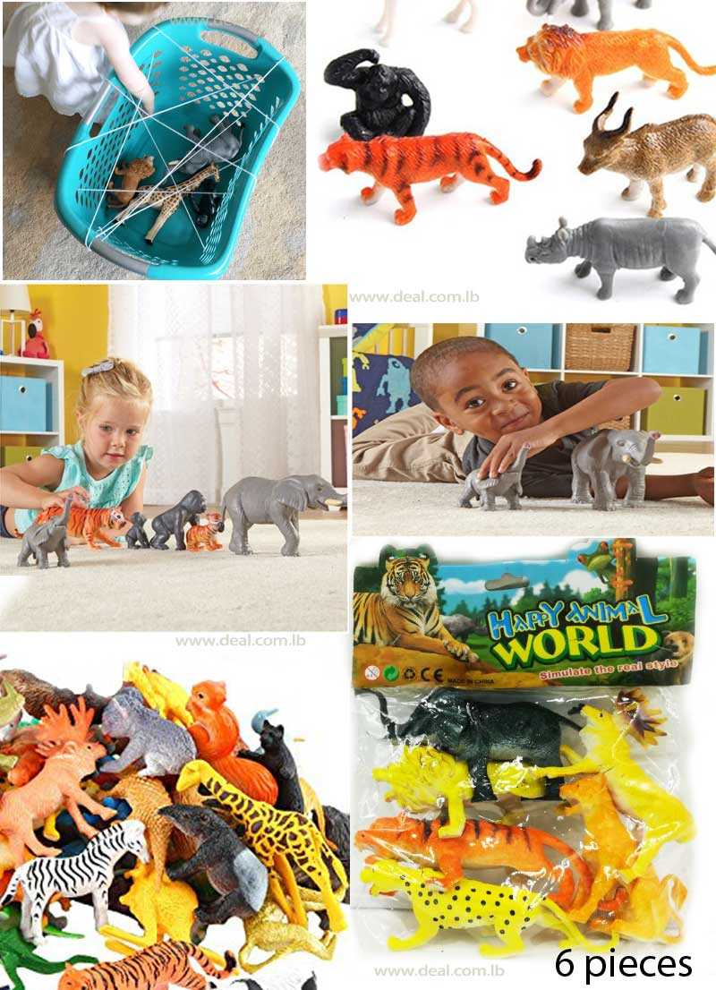 Set Of 6 Pieces  Mini Jungle Animals Toy