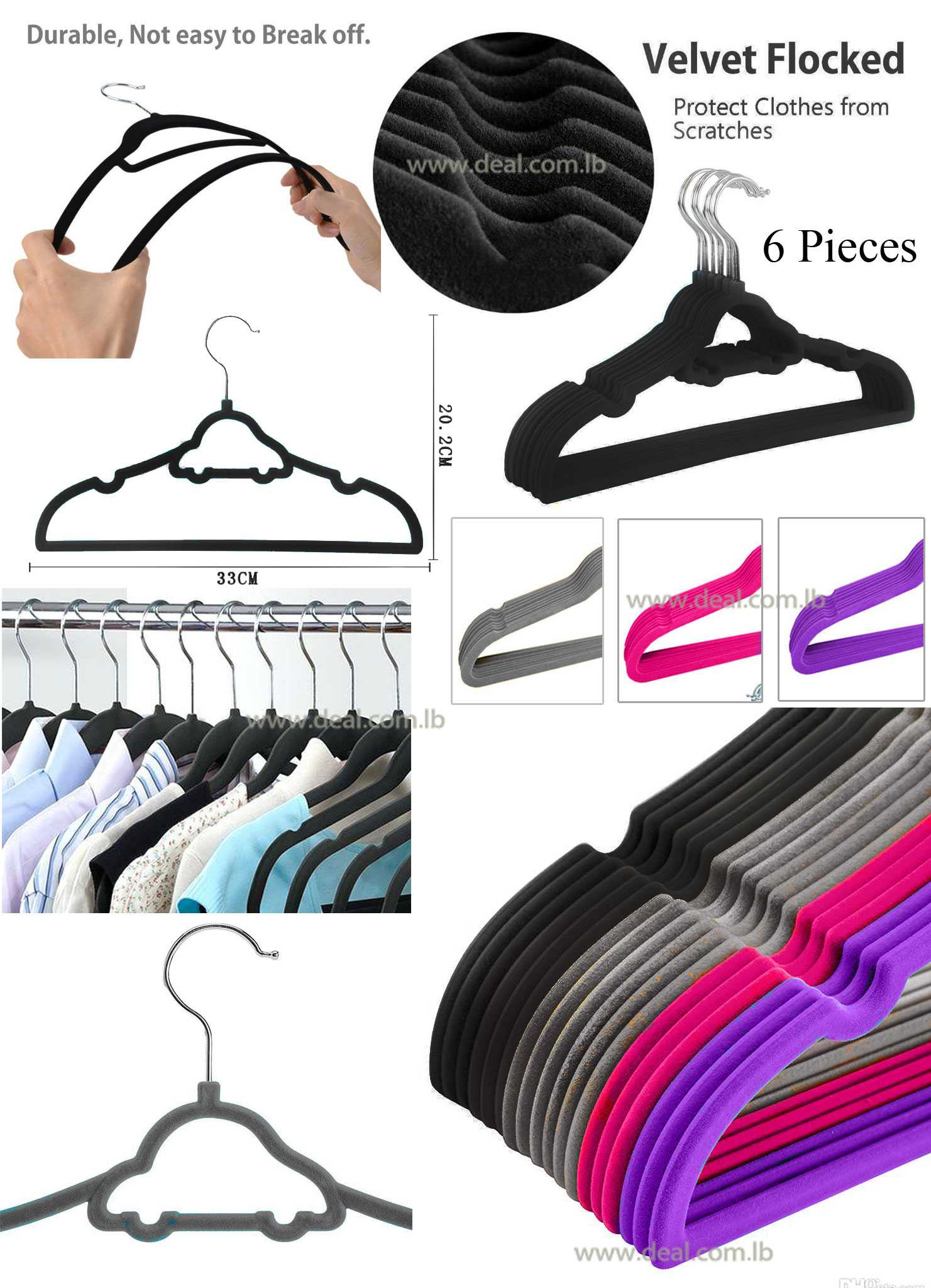 Set Of 6 pcs 33cm Closet Velvet Hangers Car SHape for Children