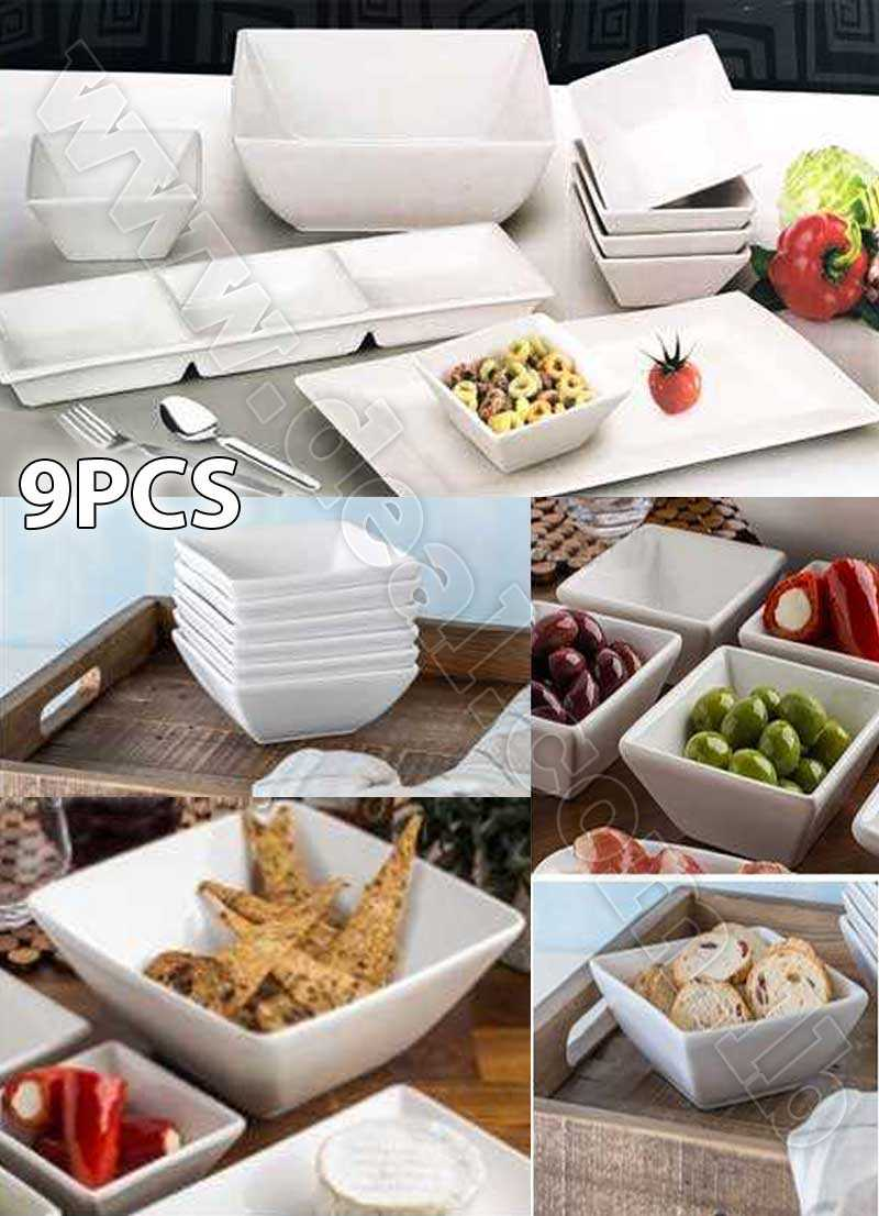 Set+Of+9+pcs+Dinner+Set+White+Ceramic+Bowls+Plates