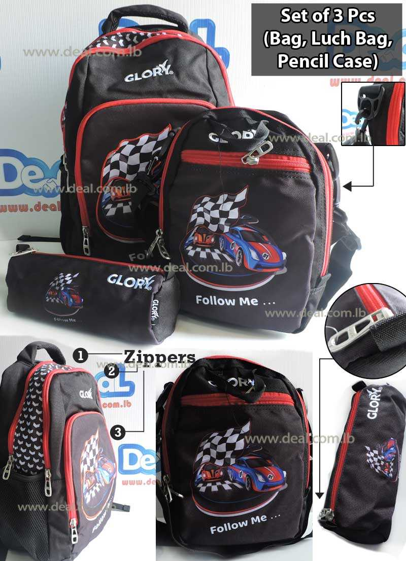 Set of Glory Bag Student and Lunch Bag School and Pencil Case Car