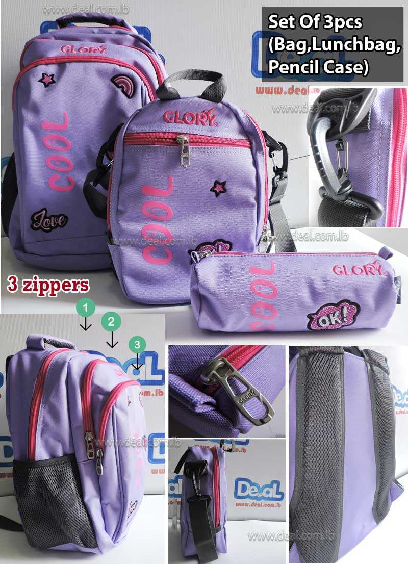 Set of Glory Bag Student and Lunch Bag School and Pencil Case Cool