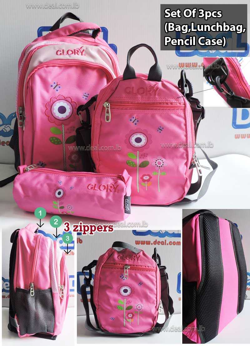 Set of Glory Bag Student and Lunch Bag School and Pencil Case Flower