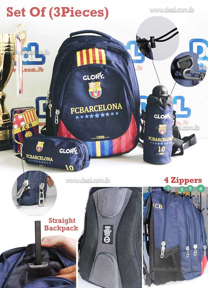 Set of Glory Bag Student and Water Bottle School and Pencil Case Barcelona
