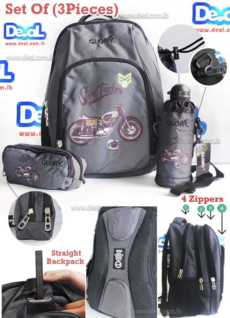 Set of Glory Bag Student and Water Bottle School and Pencil Case Motorcycle
