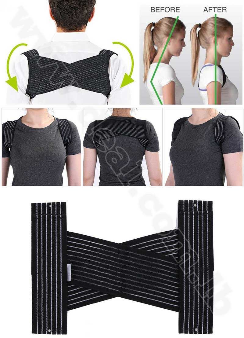 Shoulder Bandage Upper Back Support Belt Brace Posture Corrector Natural