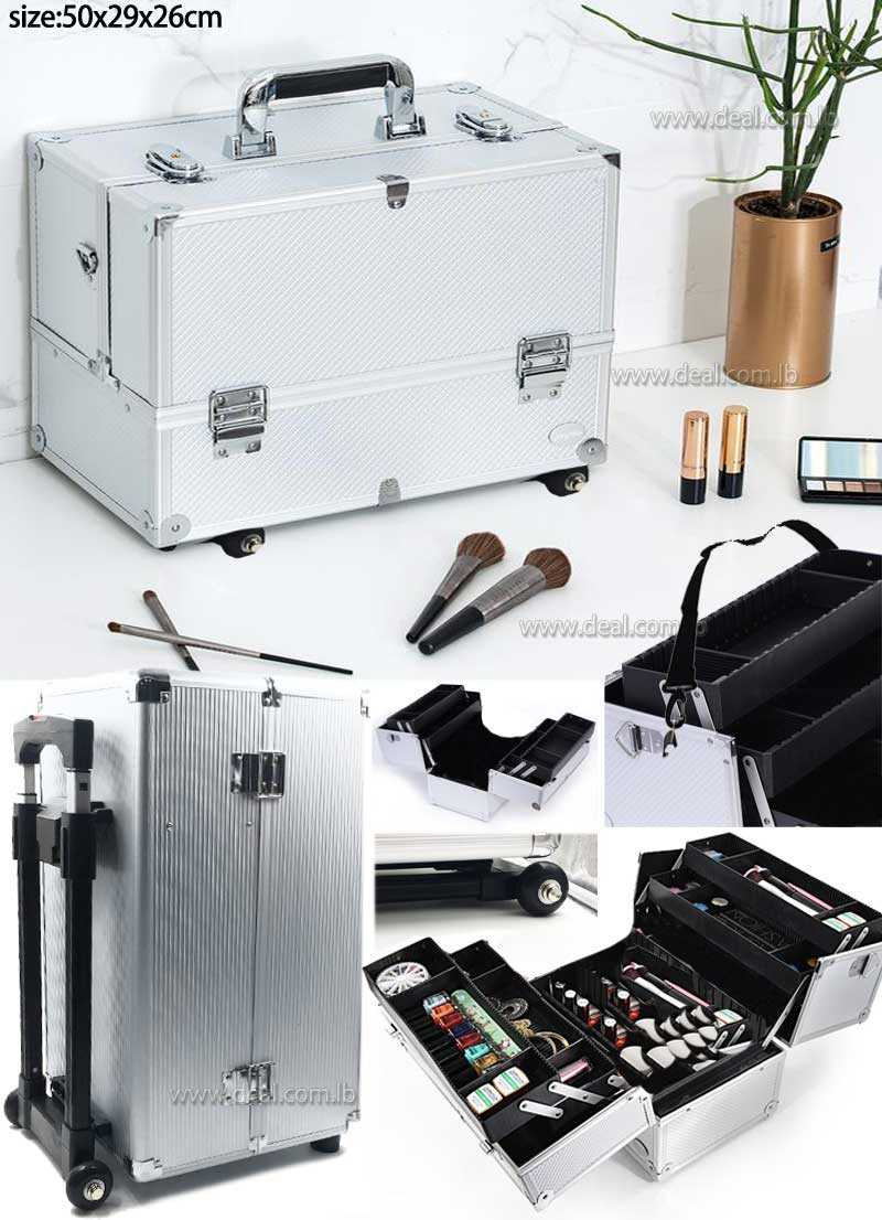 Silver Diamond Professional Makeup Train Case with 2 Tire Dividing Tray