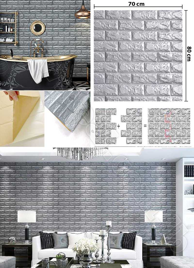 Silver foam 3D Brick Wall Sticker Wallpaper  Stone Brick Wall