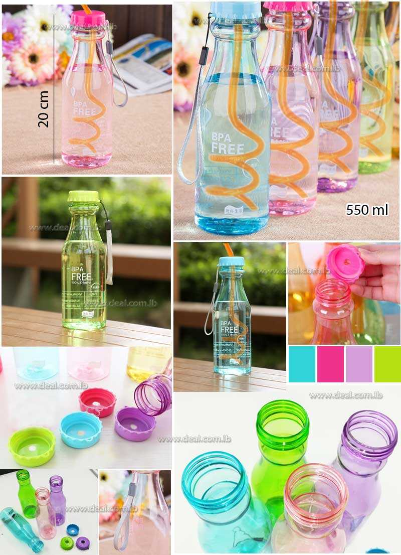 Soda Plastic Water Bottle Portable With Straw Fashion Bottle 550 ml