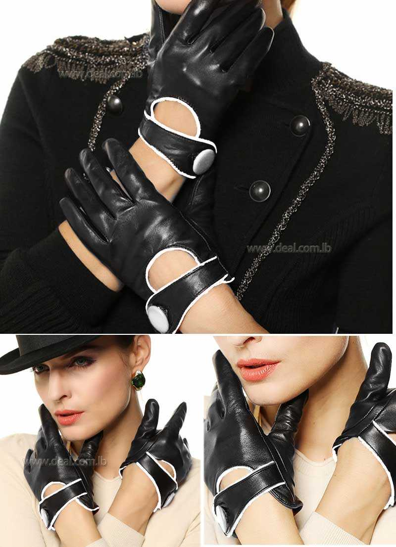 Solid Women Genuine Leather Gloves High-end Wrist Button Contrast Color Fashion Real Sheepskin Glove Lady Warm Winter