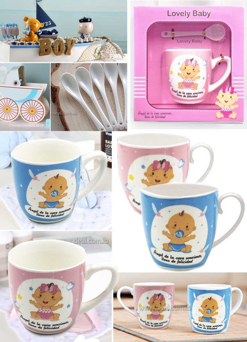 Souvenir Ceramic children pink and blue cup with spoon