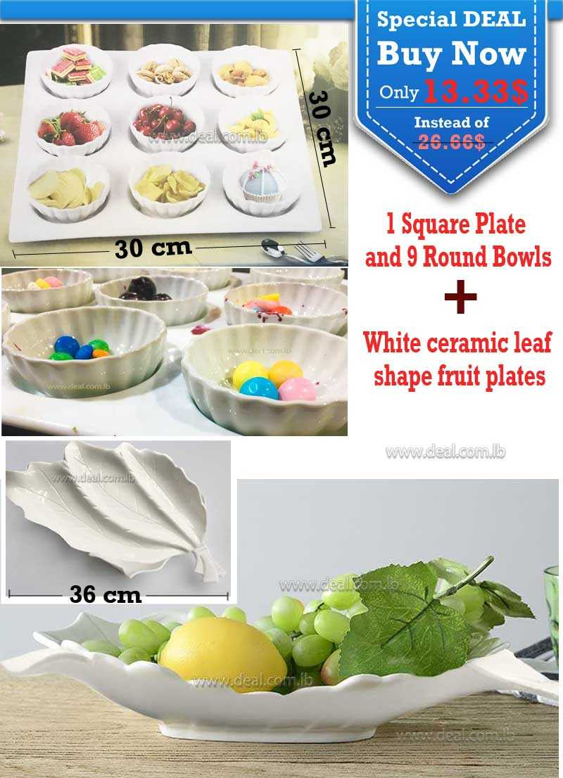 Special Deal  1 Square Plate and 9 Round Bowls And White ceramic leaf shape  fruit plates