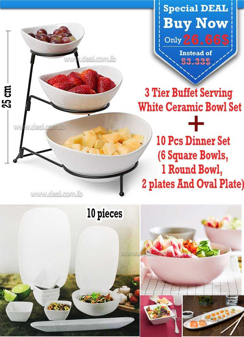 Special Deal 10 Pcs Dinner Set And 3 Tier Buffet White Ceramic Bowls With Heavy Duty Metal Stand