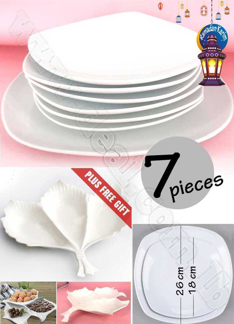 Special Deal 7 pcs Porcelain Plate With Free Gift Leaf Plate