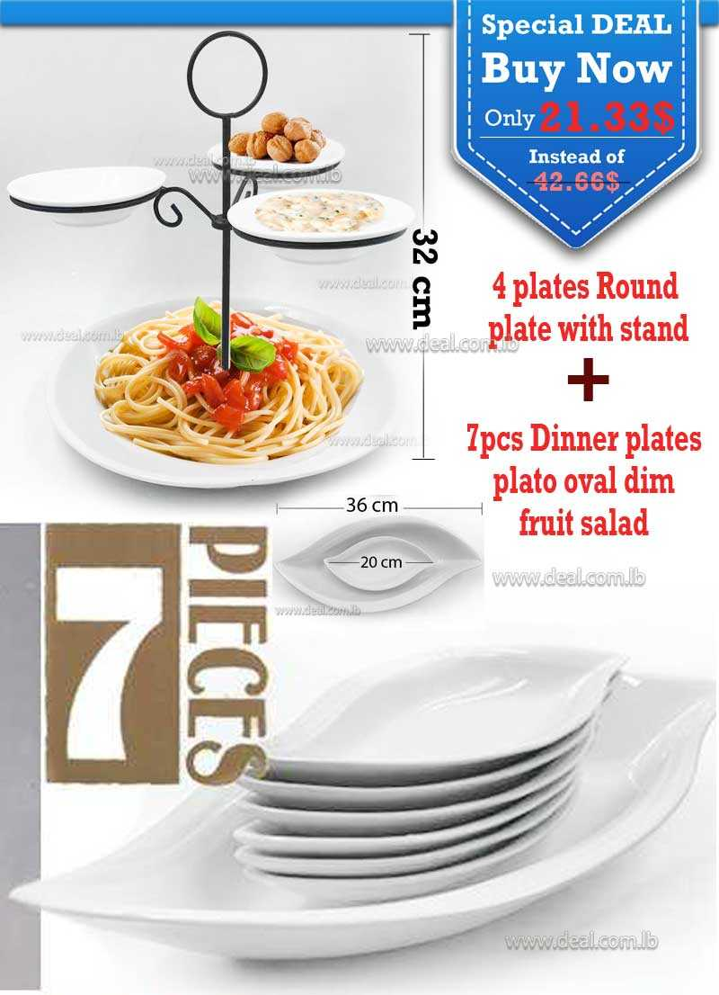 Special Deal 7pcs Dinner plates plato oval dim fruit salad  And 4 plates Round plate with stand