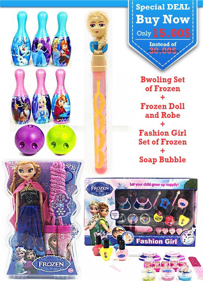 Special Deal Bwoling Set of Frozen and Frozen Doll and Robe and Fashion Girl Set and Soap Bubble