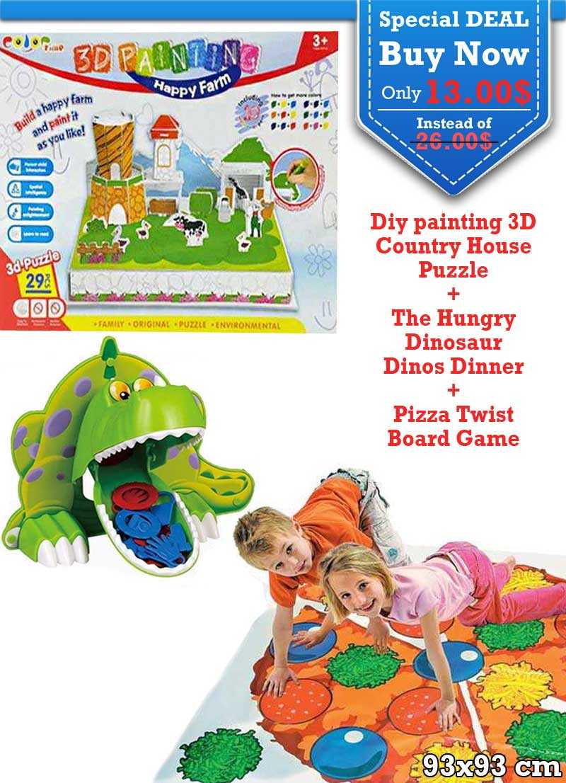 Special Deal Diy painting 3D Country and The Hungry Dinosaur and Pizza Twist Board Game